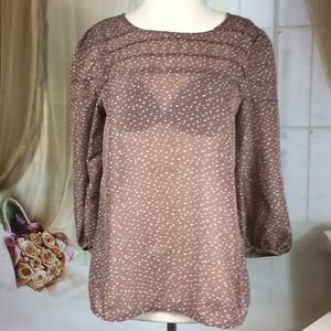 LOFT Brown Sheer Long Sleeved Blouse